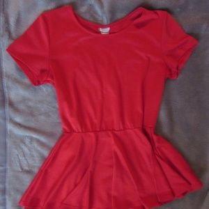 Red Peplum Short-sleeve Shirt